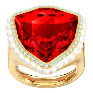 Pierścionek SWAROVSKI - Lucky Goddess Cocktail, Red, Gold 5474552 50-55
