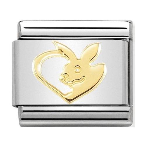 Nomination - Link 18K Rabbit in Heart, Gold 030162/50