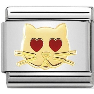 Nomination - Link 18K Gold 'Cat with Heart Eyes' 030272/43
