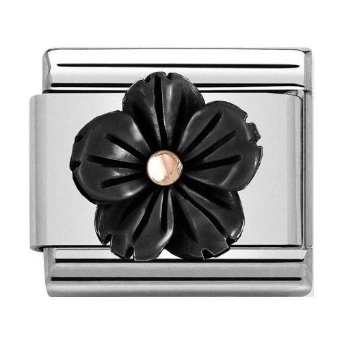 Nomination - Link 9K Rose Gold 'Flower in Onyx Paste' 430510/01