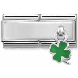 Nomination - Double Link 925 Silver 'Green Four-Leaf Clover' 330780/05