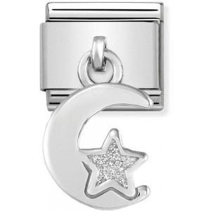 Nomination - Link 925 Silver 'Moon and Star with White Glitter' 331805/05