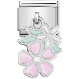 Nomination - Link 925 Silver 'Pink and White Flowers' 331805/10