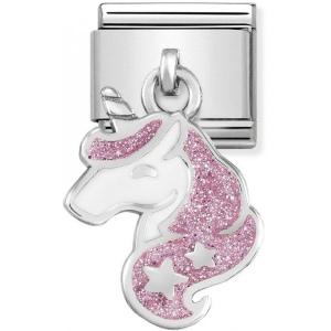 Nomination - Link 925 Silver 'White and Glitter Pink Unicorn' 331805/13