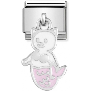Nomination - Link 925 Silver 'White and Pink Mermaid Cat' 331805/16