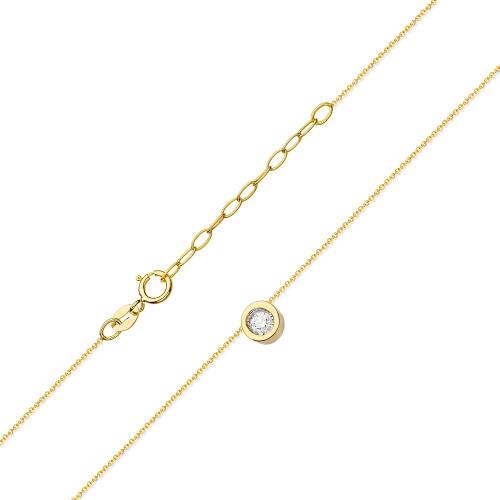 Złoty Naszyjnik Celebrytka pr.585 z brylantami 0,08ct