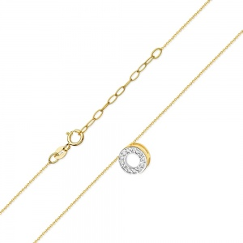 Złoty Naszyjnik Celebrytka pr.585 z brylantami 0,06ct