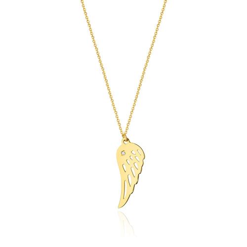 Złoty Naszyjnik Celebrytka pr.585 z brylantami 0,005ct