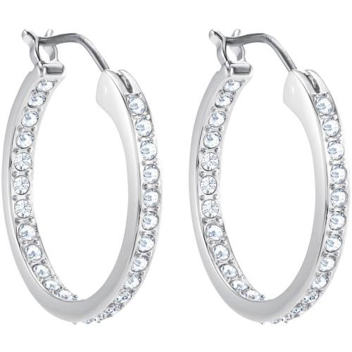 Kolczyki SWAROVSKI - Stone Hoop Pierced Earrings, White 5389432