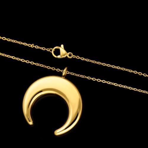 Pozłacany Naszyjnik Celebrytka - Półksiężyc