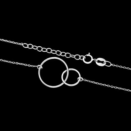 Srebrny Naszyjnik Celebrytka - Splecione Koła pr.925