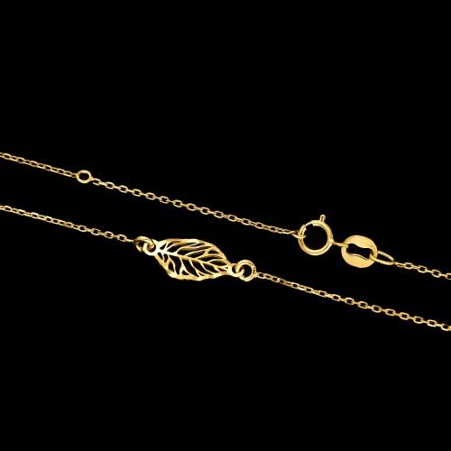 Pozłacany naszyjnik celebrytka - Ażurowy Listek pr.925