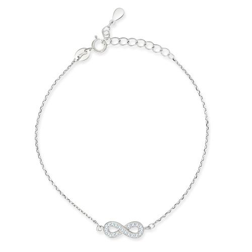 Srebrna bransoletka celebrytka z cyrkoniami - Nieskończoność pr.925