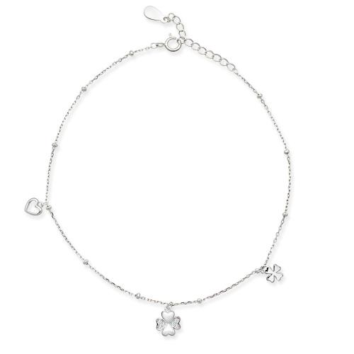 Srebrna bransoletka na nogę 25cm - Szczęśliwa Miłość pr.925