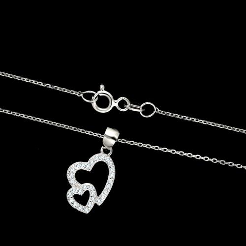 Srebrny naszyjnik z cyrkoniami - Złączone Serca pr.925