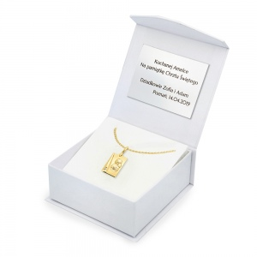 Złoty Komplet z Medalikiem pr.333 - Prezent na Chrzest Komunię