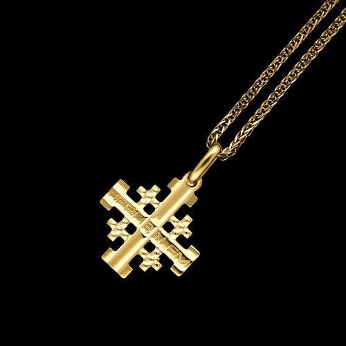 Złota Zawieszka Zdobiony Krzyżyk pr.333