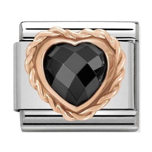 Nomination - Link 9K Rose Gold Serce czarna cyrkonia 430602/011