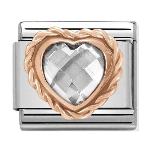 Nomination - Link 9K Rose Gold Serce biała cyrkonia 430602/010