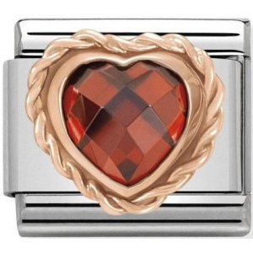 Nomination - Link 9K Rose Gold Serce czerwona cyrkonia 430602/005