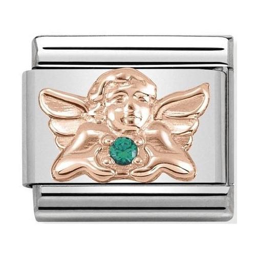 Nomination - Link 9K Rose Gold Aniołek z zieloną cyrkonią 430302/22