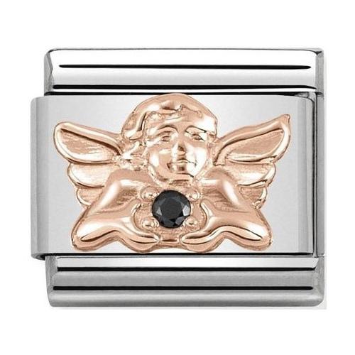 Nomination - Link 9K Rose Gold Aniołek z czarną cyrkonią 430302/18