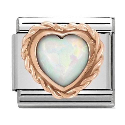 Nomination - Link 9K Rose Gold Biały opal serce 430509/22
