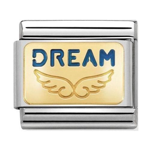 Nomination - Link 18K Gold Skrzydełka z napisem DREAM 030284/35
