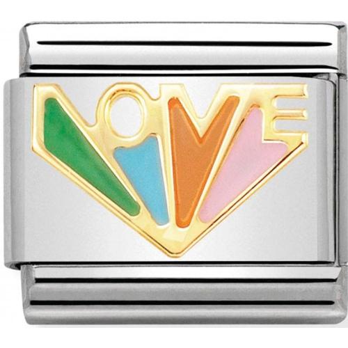 Nomination - Link 18K Gold Kolorowy napis LOVE 030272/37