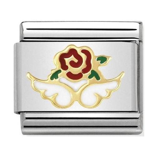 Nomination - Link 18K Gold Białe skrzydełka z różą 030272/36