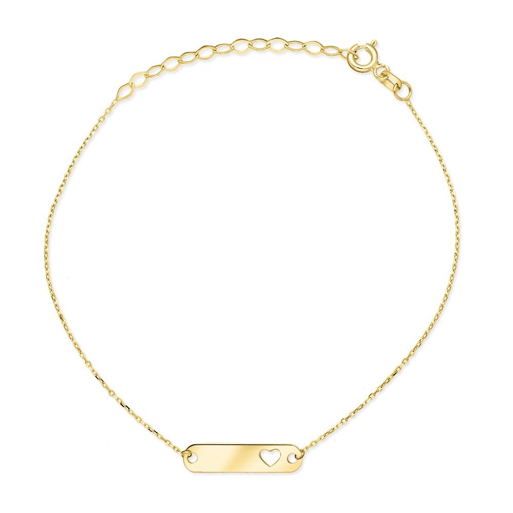 Złota bransoletka celebrytka - Blaszka z Serduszkiem pr.333