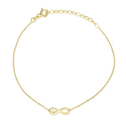 Złota bransoletka celebrytka - Nieskończoność z Sercami pr.333
