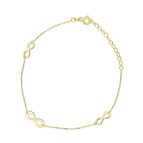 Złota bransoletka potrójna celebrytka - Nieskończoność pr.333