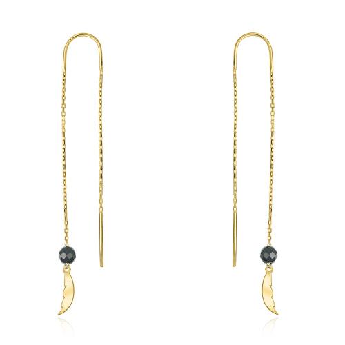 Złote kolczyki z kryształkami - Pórka pr.333