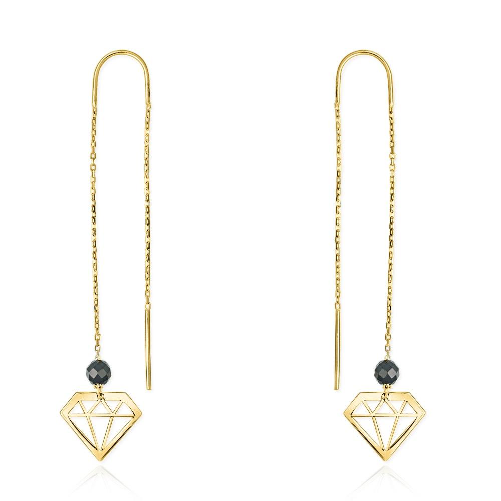 Złote kolczyki z kryształkami - Diamenty pr.333
