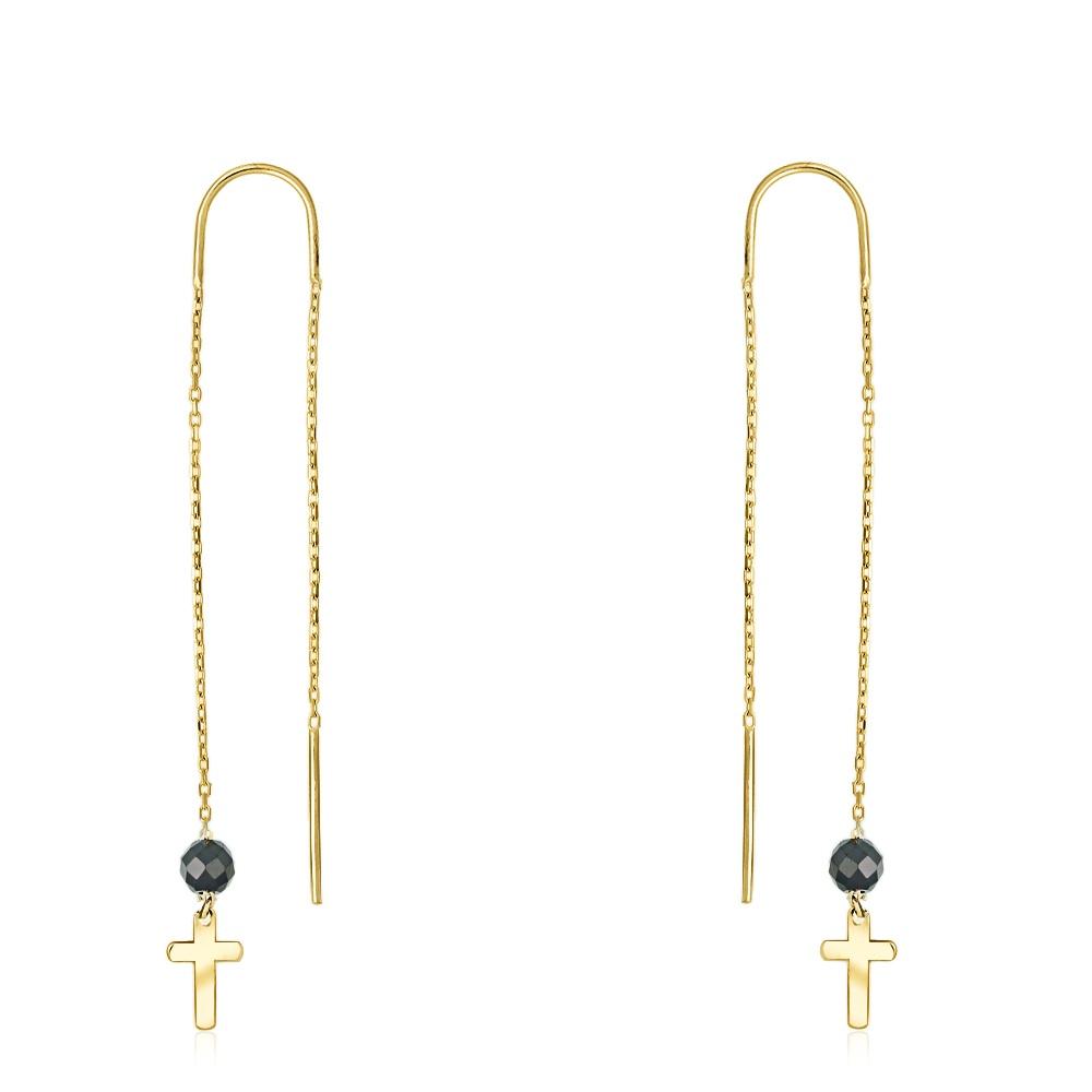 Złote kolczyki z kryształkami - Krzyżyki pr.333