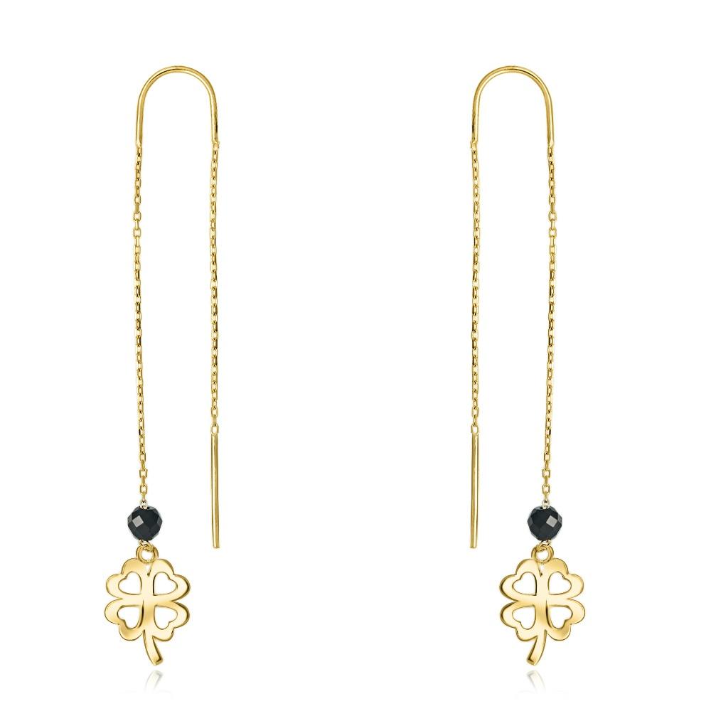 Złote kolczyki z kryształkami - Czterolistna Kończynka pr.333