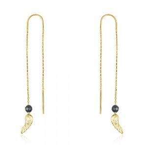 Złote kolczyki z kryształkami - Skrzydło Anioła pr.333
