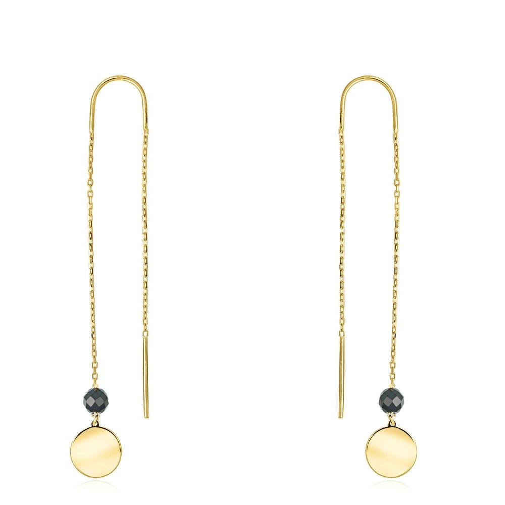 Złote kolczyki z kryształkami - Monety pr.333