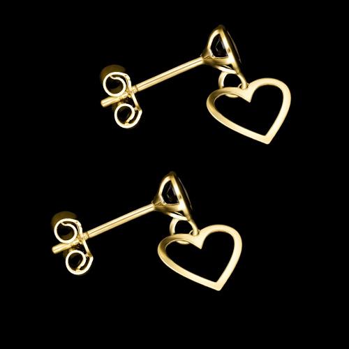 Złote kolczyki - Serce z Kryształkami - pr.333