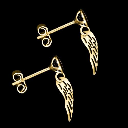 Złote kolczyki z kryształkami - Skrzydła Anioła pr.333