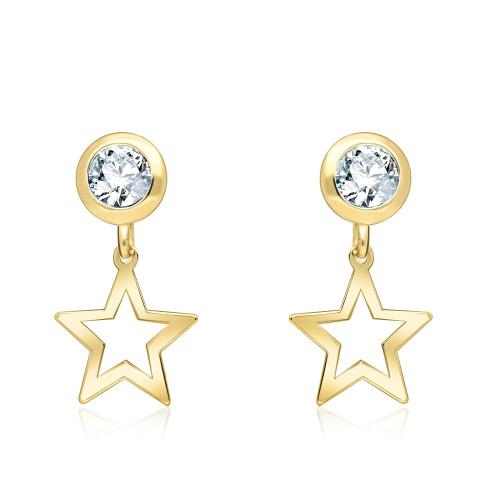 Złote kolczyki z kryształkami - Gwiazdki pr.333