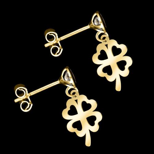 Złote kolczyki z kryształkami - Czterolistne Koniczynki pr.333