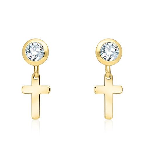 Złote kolczyki z kryształkami - Krzyże pr.333