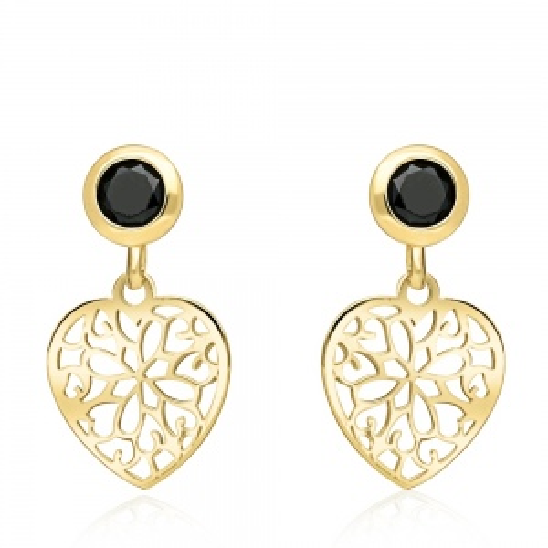 Złote kolczyki z kryształkami - Ażurowe Serca pr.333