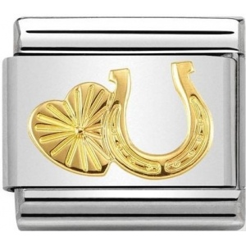 Nomination - Link 18K Gold 'Podkowa z Sercem' 030149/35