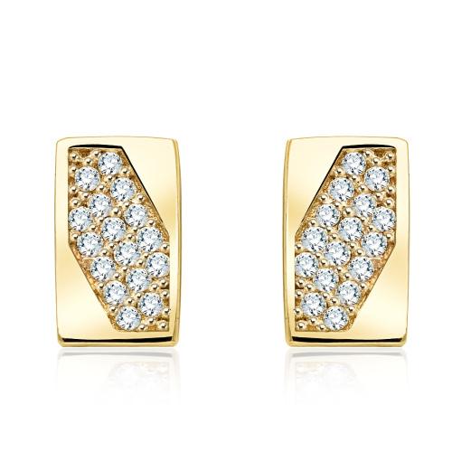 Złote kolczyki z kryształkami - Prostokąty pr.333