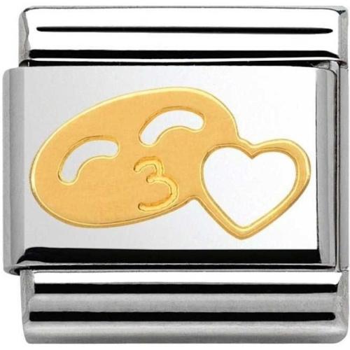 Nomination - Link 18K Gold Uśmiech z sercem 030161/06
