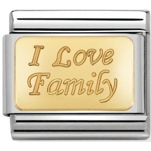 Nomination - Link 18K Gold 'I love Family' 030121/33