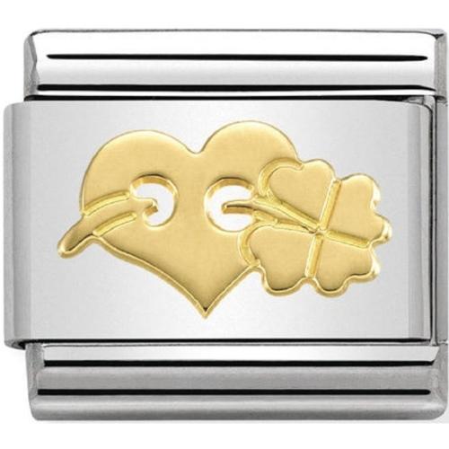 Nomination - Link 18K Gold 'Serce z koniczynką' 030162/30